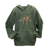 Green Hoodie with Hand drawn Moose stands between the words