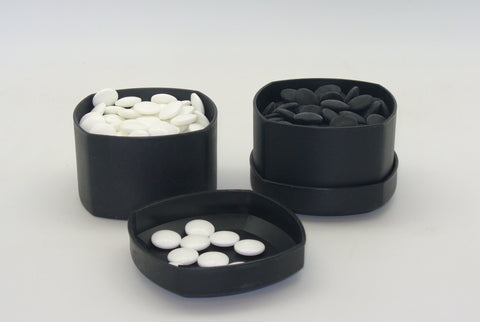 8mm Black/White Go Stones w/ Black Bowls 22801K-8BW