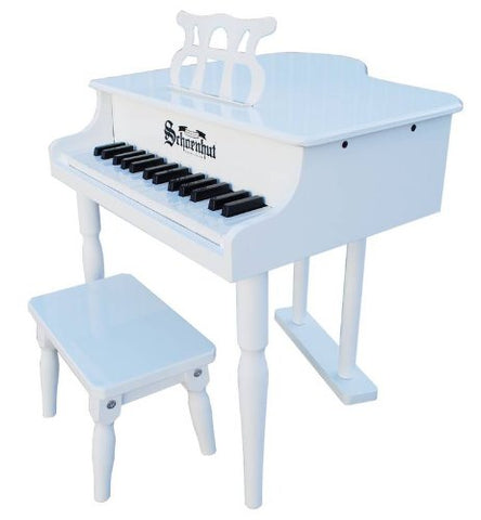 Schoenhut 30 Key Classic Baby Grand Piano - White 309W - Peazz Toys