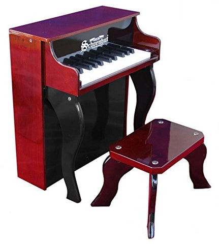 Schoenhut 25 Key Elite Spinet Upright Piano - Mahogany/Black 2505MB - Peazz Toys