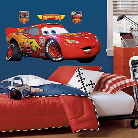 Cars - Lightening McQueen Peel & Stick Giant Wall Decal (RMK1518GM) - Peazz Toys