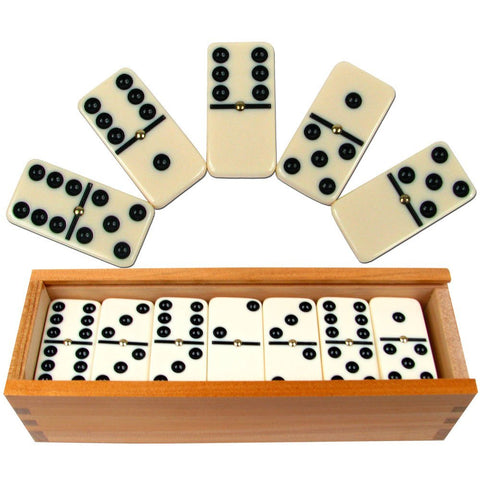 185880 Premium Set Of 28 Double Six Dominoes W/ Wood Case - Peazz Toys
