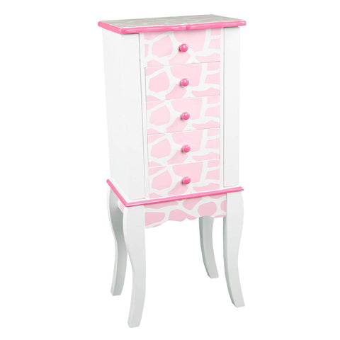 Teamson TD-11672D Teamson Kids - Fashion Giraffe Prints Irina Jewelry Armoire - Pink / White