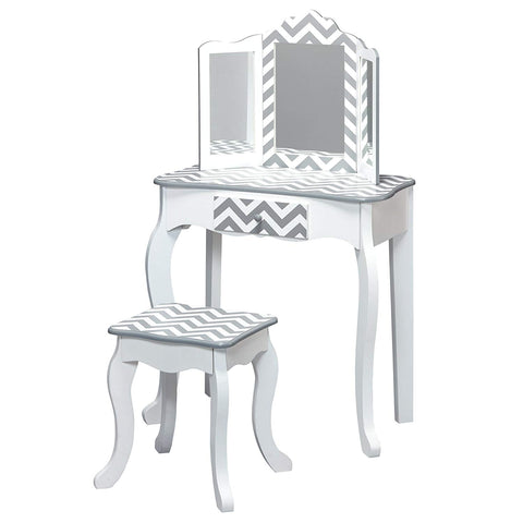 Teamson TD-11670I Teamson Kids - Fashion Chevron Prints Gisele Vanity Table & Stool Set - Grey / White