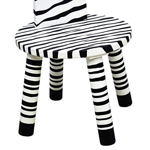 Teamson W-1945Z Teamson Kids - Zoo Kingdom Zebra Stool w/Coat Rack - White / Black