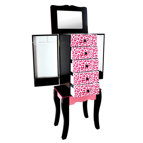 Teamson TD-11672A Teamson Kids - Fashion Leopard Prints Irina Jewelry Armoire - Pink / Black