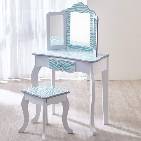 Teamson TD-11670C Teamson Kids - Fashion Zebra Prints Gisele Vanity Table & Stool Set - Aqua Blue / White