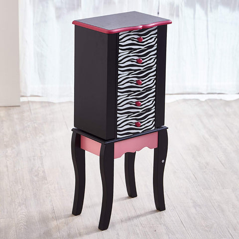 Teamson TD-11672B Teamson Kids - Fashion Zebra Prints Irina Jewelry Armoire - Pink / Black