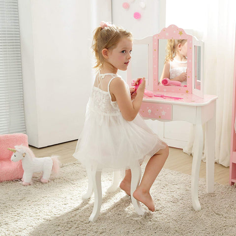 Teamson TD-11670K Teamson Kids - Fashion Star Prints Gisele Vanity Table & Stool Set - Pink / White / Gold