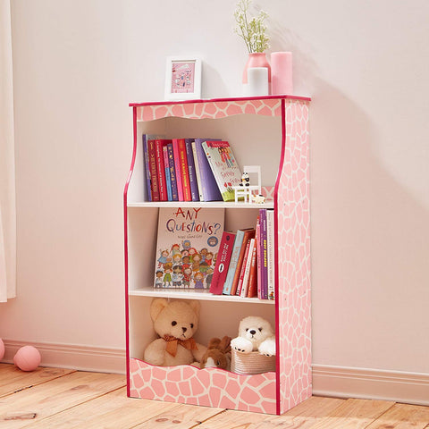 Teamson TD-12471P Teamson Kids - Fashion Giraffe Prints Karlie Bookshelf - Pink / White