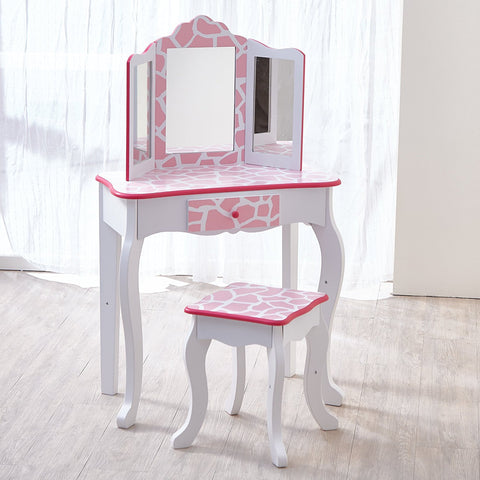 Teamson TD-11670D Teamson Kids - Fashion Giraffe Prints Gisele Vanity Table & Stool Set - Pink / White