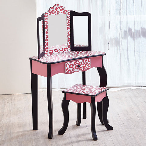 Teamson TD-11670A Teamson Kids - Fashion Leopard Prints Gisele Vanity Table & Stool Set - Pink / Black
