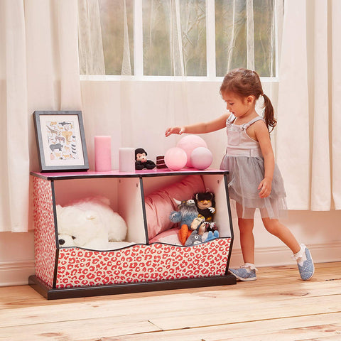 Teamson TD-12473P Teamson Kids - Fashion Leopard Prints Miranda Cubby Storage - Pink / Black