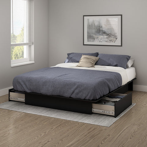 South Shore 3107217 Step One Collection Full/Queen Platform Bed (60'') with drawers Pure Black - Peazz.com - 1