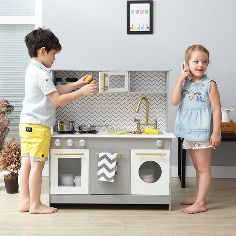 Teamson TD-12681A Teamson Kids - Little Chef Birmingham Modern Play Kitchen - Grey / White