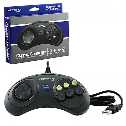 PC Wired Genesis Style Controller Black (RB-PC-7017)