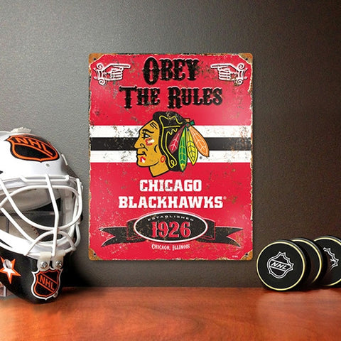 The Party Animal, Inc. VSBLA Chicago Blackhawks Embossed Metal Sign - Peazz Toys