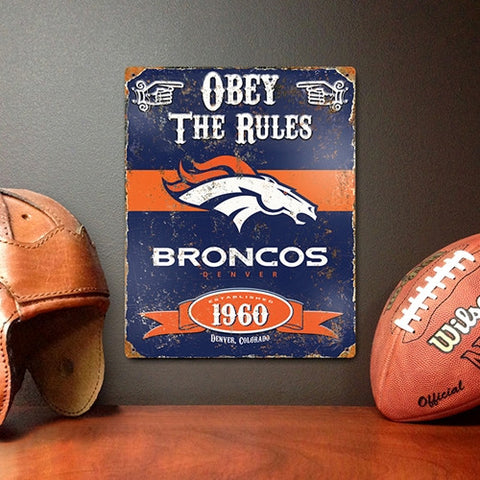 The Party Animal, Inc. VSDB Denver Broncos Embossed Metal Sign - Peazz Toys