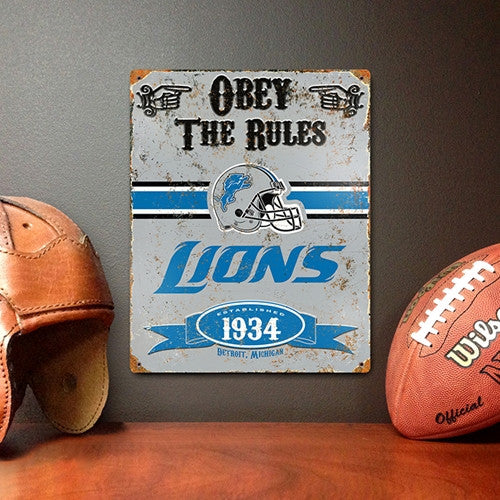 The Party Animal, Inc. VSDE Detroit Lions Embossed Metal Sign