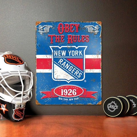 The Party Animal, Inc. VSRAN New York Rangers Embossed Metal Sign - Peazz Toys
