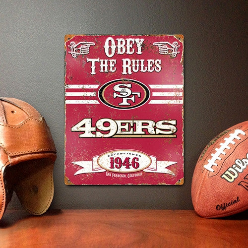 The Party Animal, Inc. VSSF San Francisco Forty-niners Embossed Metal Sign