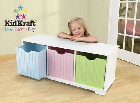 KidKraft Nantucket Storage Bench - Pastel 14565 - Peazz.com