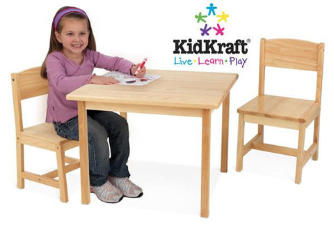 KidKraft Aspen Table and Chair Set - Natural 21221 - Peazz.com