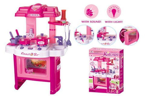 Berry Toys BR008-26 Fun Cooking Plastic Play Kitchen - Pink - WarehouseSpot