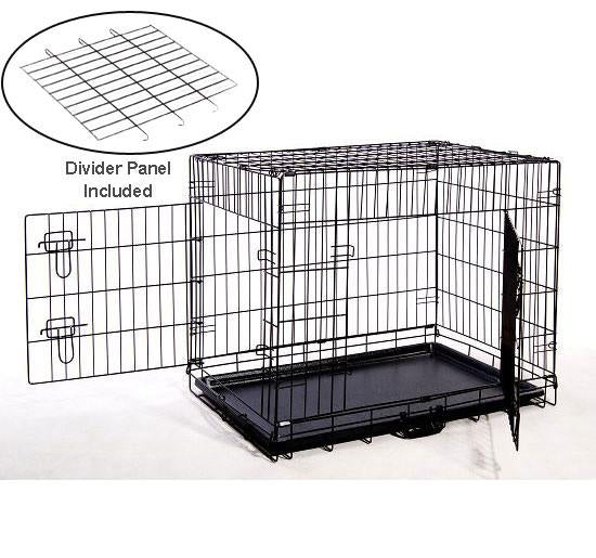 MDOG2 CR0001L-BLK Folding Double-Door Metal Dog Crate with Divider Panel - 36 x 24 x 27 - Default