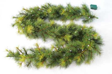 "9' x 10"" Needle Pine Garland 160 Tips 50 Concave Soft White LED Lights w/ Battery Operated Timer - WarehouseSpot"