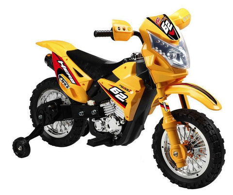 Vroom Rider VR093 Battery Operated 6V Kids Dirt Bike (Yellow) - Peazz.com