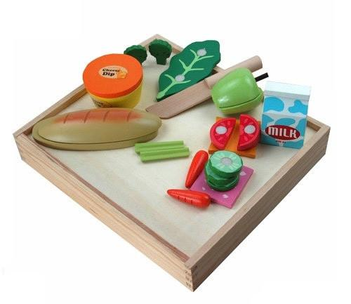 Berry Toys W10B038 Casual Wooden 17 Piece Play Food Set - Default