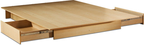 South Shore 3013217 Step One Collection Full/Queen Platform Bed (60'') with drawers Natural Maple - Peazz.com - 1
