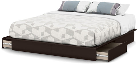 "South Shore 3159237 Step One Collection King Platform Bed (78"") with Drawers Chocolate - Peazz.com - 1"