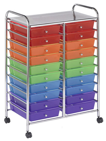 ECR4Kids ELR-011-AS 20 Drawer Mobile Organizer - Assorted - Peazz Toys