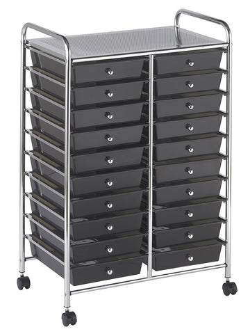 ECR4Kids ELR-011-SM 20 Drawer Mobile Organizer - Smoke - Peazz Toys