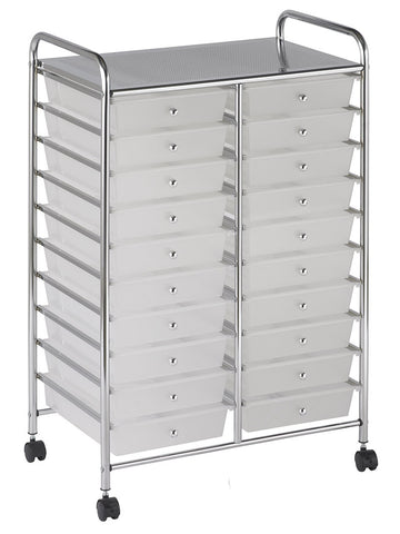 ECR4Kids ELR-011-WH 20 Drawer Mobile Organizer - White - Peazz Toys