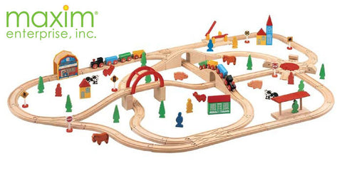 Maxim Enterprise 110 Piece Wooden Train Set (37151-MB) - Peazz Toys