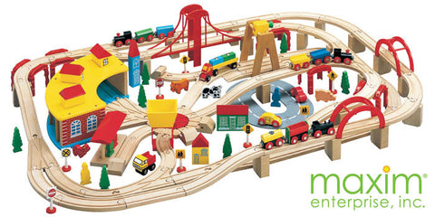 Maxim Enterprise 145 Piece Wooden Train Set (50226-WS) - Peazz Toys
