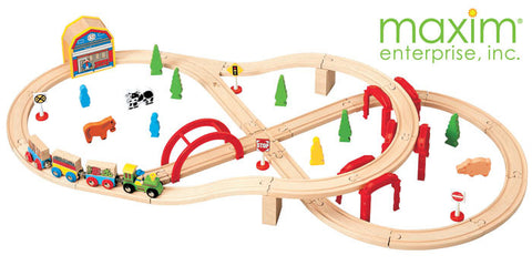 Maxim Enterprise 52 Piece Multi-Level Train Set (37154-MB) - Peazz Toys