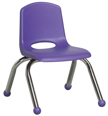 "ECR4Kids ELR-0192-PU 10"" Stack Chair - Chrome Legs - PU - Set of 6 - Peazz Toys"
