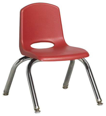"ECR4Kids ELR-0192-RDG 10"" Stack Chair - Chrome Legs - RDG - Set of 6 - Peazz Toys"