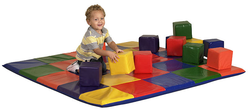 ECR4Kids ELR-0215 SoftZone¨ Patchwork Toddler Mat & 12Pc Blocks