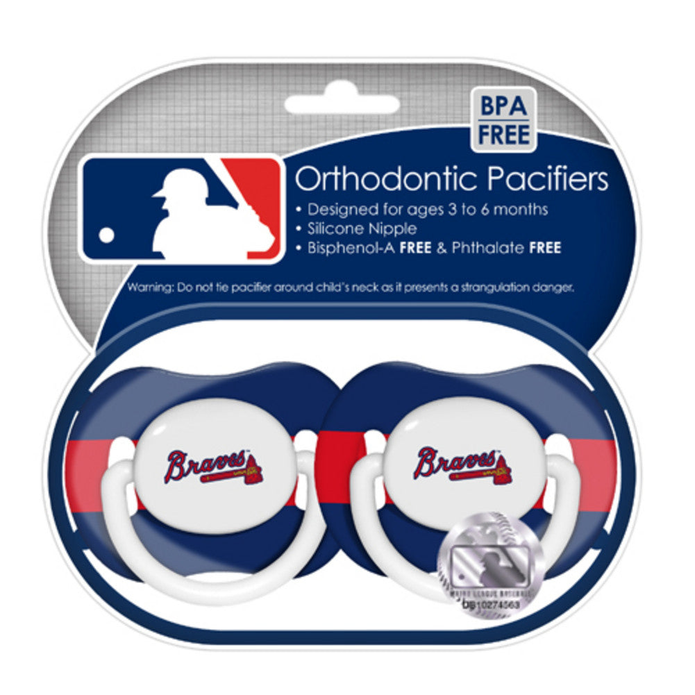 2 Pack Pacifiers Atlanta Braves