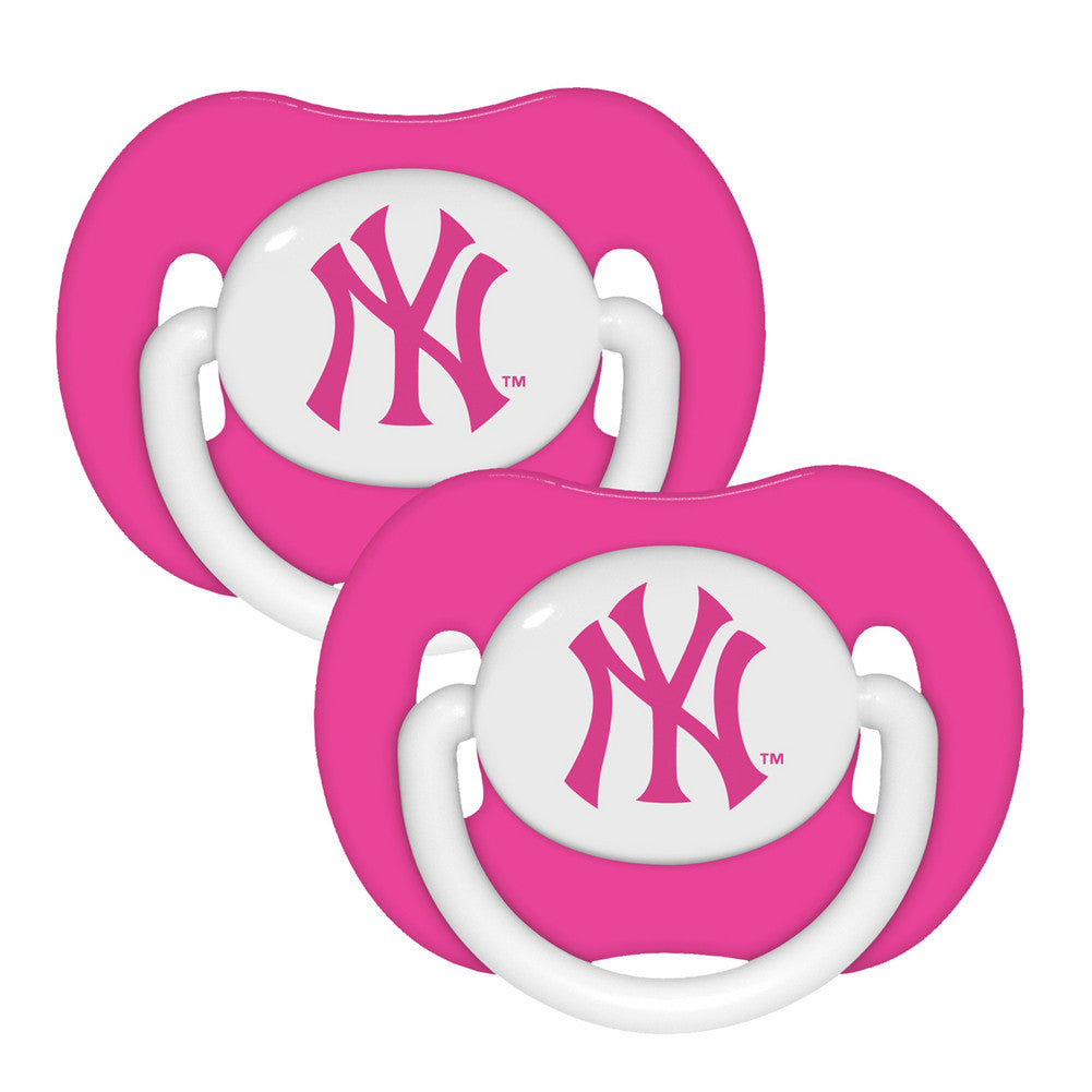 2 Pack Pink Pacifiers New York Yankees