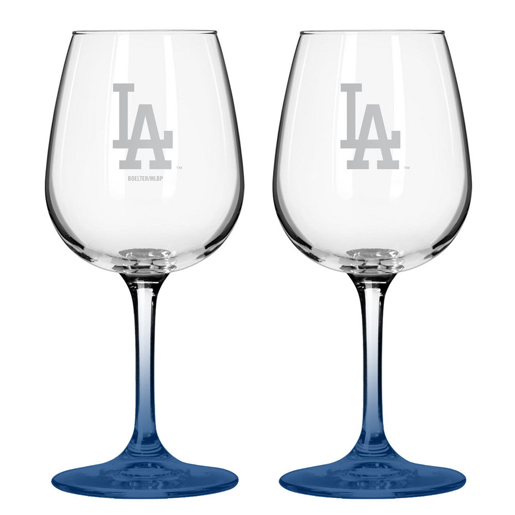 12Oz MlbDodgers 2Pk Wine Set