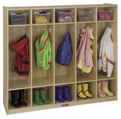 ECR4Kids ELR-0425 5-Section Birch Straight Coat Locker - Peazz Toys