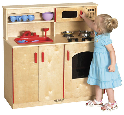 ECR4Kids ELR-0434 Birch 4-In-1 Play Kitchen - Peazz Toys