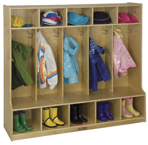 ECR4Kids ELR-0453 5-Section Birch Coat Locker with Bench - Peazz Toys