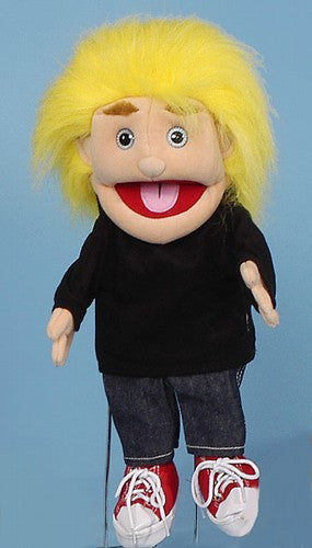 14 Fuzzy Boy Glove Puppet w Yellow Hair
